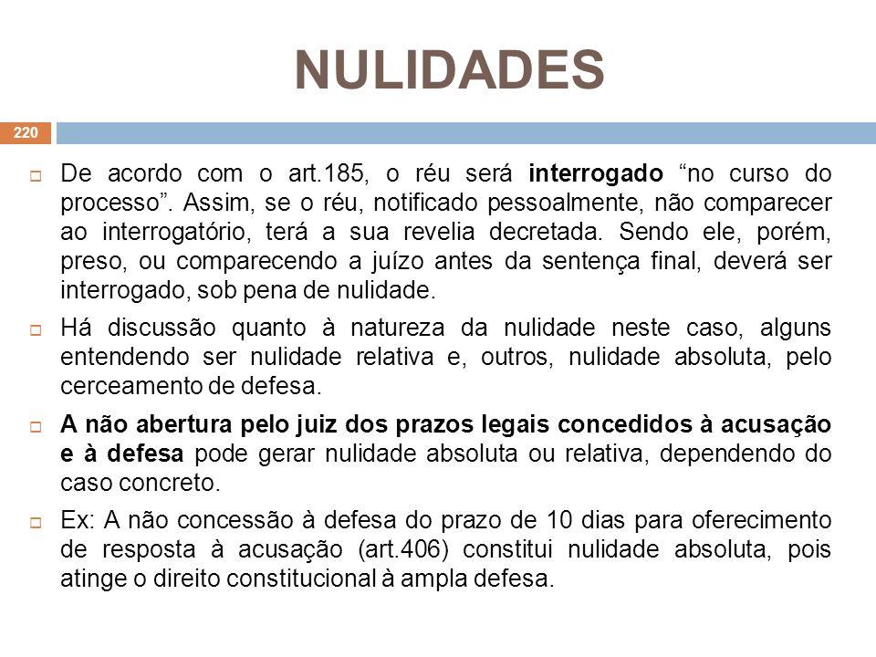 NULIDADES De acordo com o art.185, o réu será interrogado no curso do processo. Assim, se o réu, notificado pessoalmente, não comparecer ao interrogat