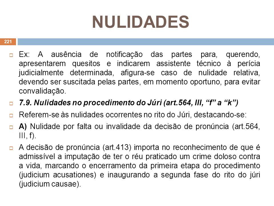 NULIDADES Ex: A ausência de notificação das partes para, querendo, apresentarem quesitos e indicarem assistente técnico à perícia judicialmente determ