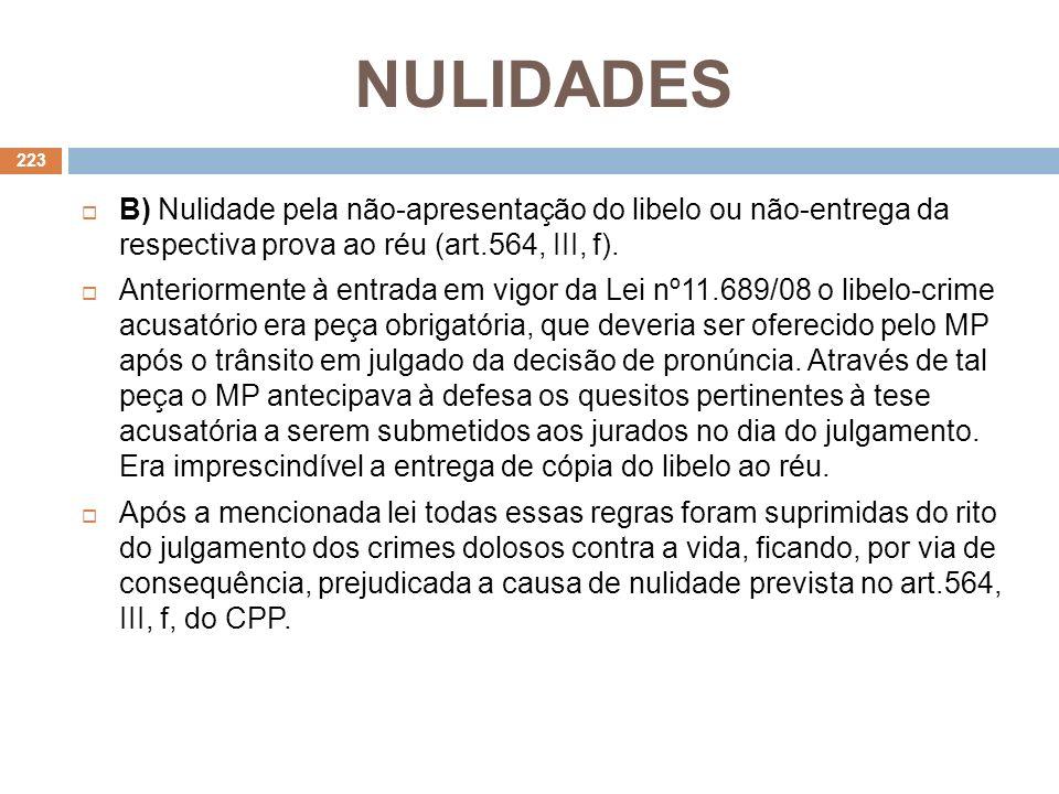 NULIDADES B) Nulidade pela não-apresentação do libelo ou não-entrega da respectiva prova ao réu (art.564, III, f). Anteriormente à entrada em vigor da