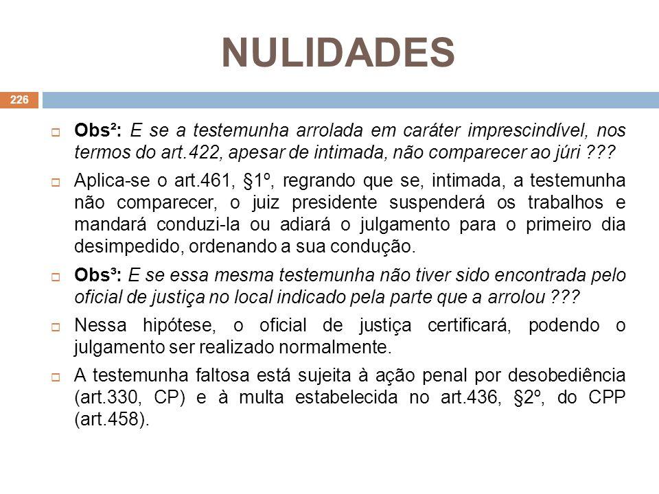 NULIDADES Obs²: E se a testemunha arrolada em caráter imprescindível, nos termos do art.422, apesar de intimada, não comparecer ao júri ??? Aplica-se