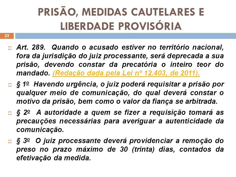 PRISÃO, MEDIDAS CAUTELARES E LIBERDADE PROVISÓRIA Art. 289. Quando o acusado estiver no território nacional, fora da jurisdição do juiz processante, s