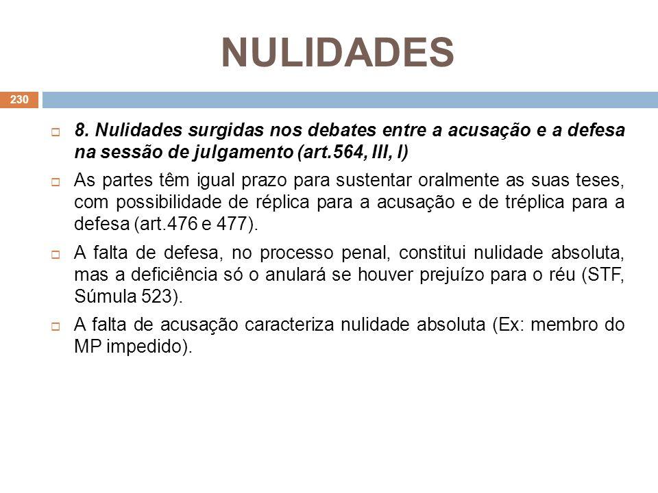 NULIDADES 8. Nulidades surgidas nos debates entre a acusação e a defesa na sessão de julgamento (art.564, III, l) As partes têm igual prazo para suste