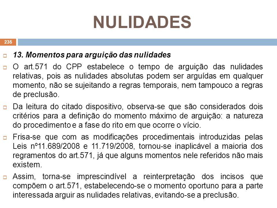 NULIDADES 13. Momentos para arguição das nulidades O art.571 do CPP estabelece o tempo de arguição das nulidades relativas, pois as nulidades absoluta