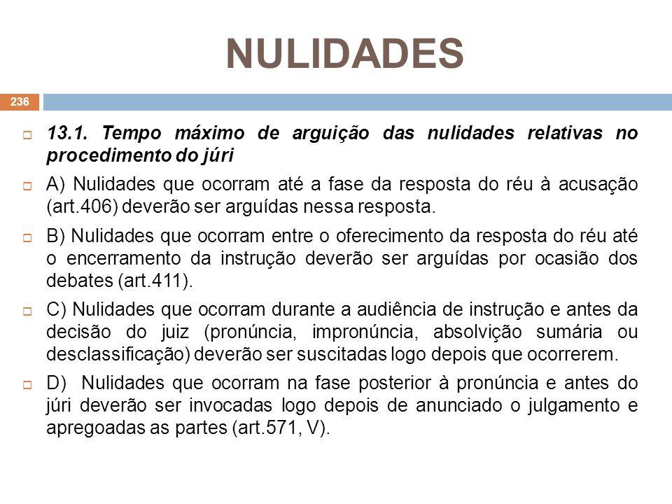 NULIDADES 13.1. Tempo máximo de arguição das nulidades relativas no procedimento do júri A) Nulidades que ocorram até a fase da resposta do réu à acus
