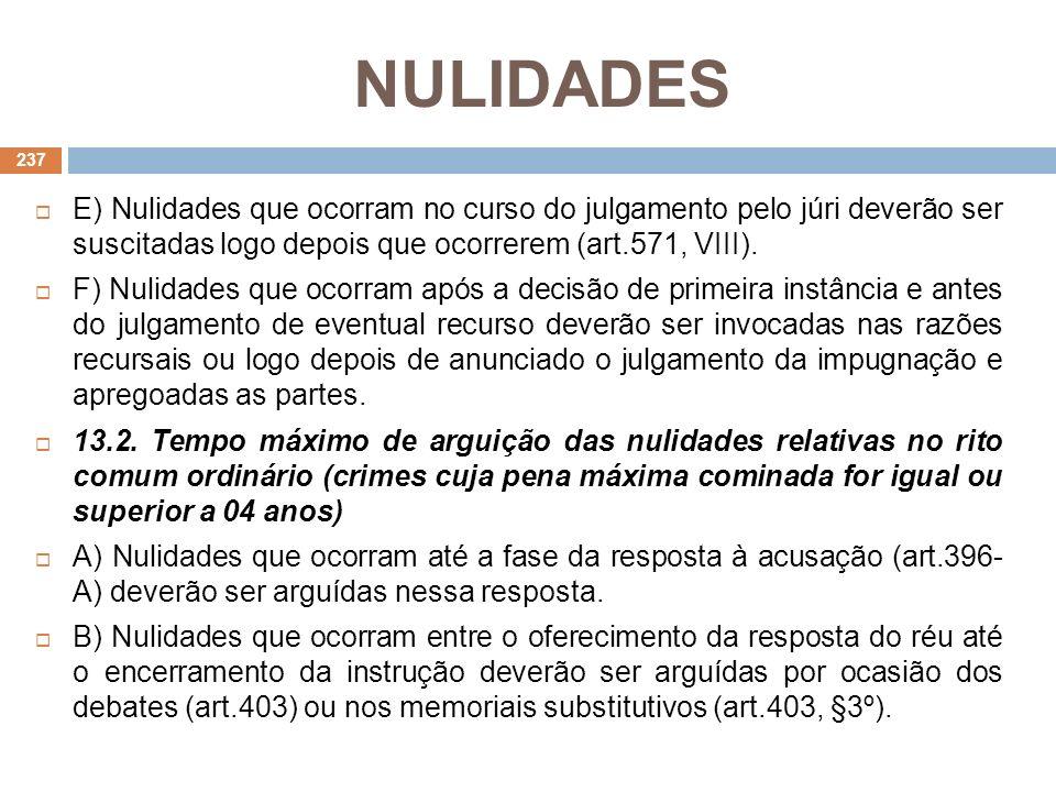 NULIDADES E) Nulidades que ocorram no curso do julgamento pelo júri deverão ser suscitadas logo depois que ocorrerem (art.571, VIII). F) Nulidades que