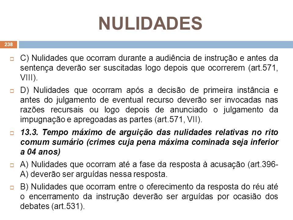 NULIDADES C) Nulidades que ocorram durante a audiência de instrução e antes da sentença deverão ser suscitadas logo depois que ocorrerem (art.571, VII