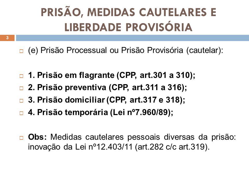 PRISÃO, MEDIDAS CAUTELARES E LIBERDADE PROVISÓRIA 3 (e) Prisão Processual ou Prisão Provisória (cautelar): 1. Prisão em flagrante (CPP, art.301 a 310)
