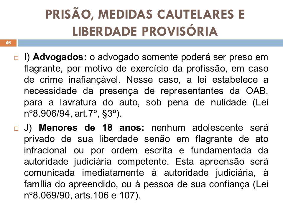 PRISÃO, MEDIDAS CAUTELARES E LIBERDADE PROVISÓRIA I) Advogados: o advogado somente poderá ser preso em flagrante, por motivo de exercício da profissão