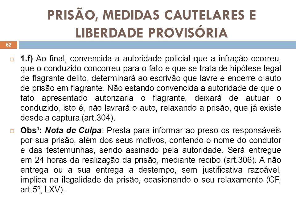 PRISÃO, MEDIDAS CAUTELARES E LIBERDADE PROVISÓRIA 1.f) Ao final, convencida a autoridade policial que a infração ocorreu, que o conduzido concorreu pa