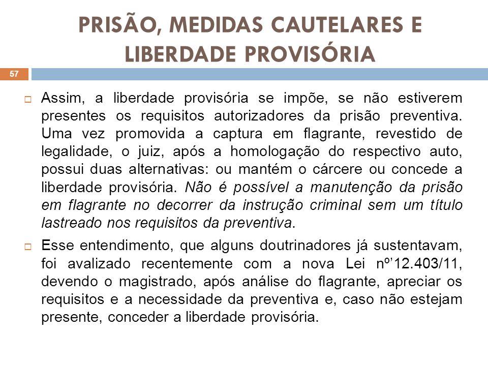 PRISÃO, MEDIDAS CAUTELARES E LIBERDADE PROVISÓRIA Assim, a liberdade provisória se impõe, se não estiverem presentes os requisitos autorizadores da pr