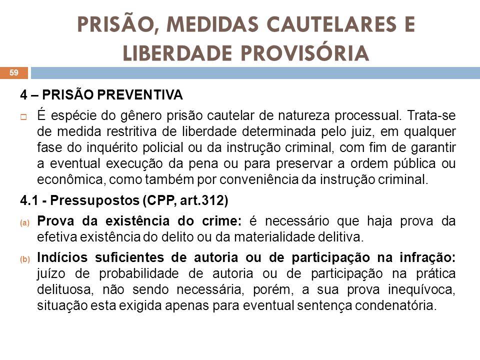 PRISÃO, MEDIDAS CAUTELARES E LIBERDADE PROVISÓRIA 4 – PRISÃO PREVENTIVA É espécie do gênero prisão cautelar de natureza processual. Trata-se de medida