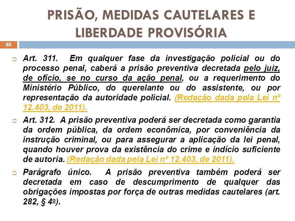 PRISÃO, MEDIDAS CAUTELARES E LIBERDADE PROVISÓRIA Art. 311. Em qualquer fase da investigação policial ou do processo penal, caberá a prisão preventiva