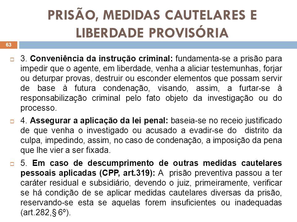 PRISÃO, MEDIDAS CAUTELARES E LIBERDADE PROVISÓRIA 3. Conveniência da instrução criminal: fundamenta-se a prisão para impedir que o agente, em liberdad