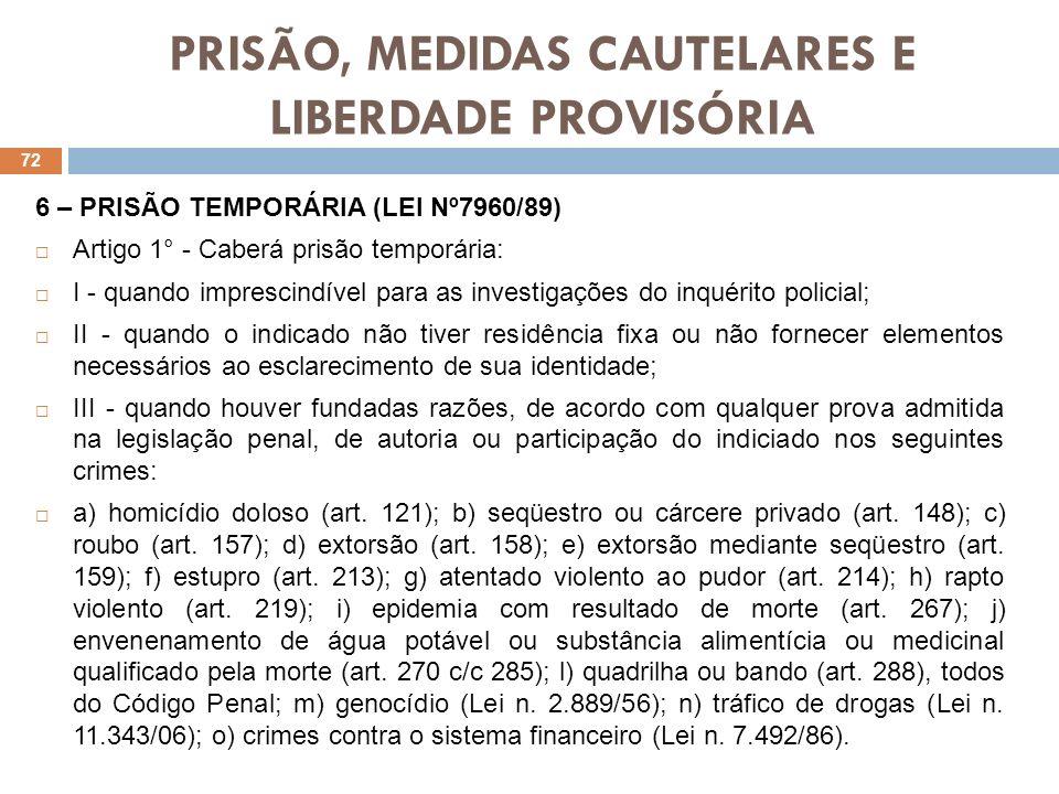 PRISÃO, MEDIDAS CAUTELARES E LIBERDADE PROVISÓRIA 6 – PRISÃO TEMPORÁRIA (LEI Nº7960/89) Artigo 1° - Caberá prisão temporária: I - quando imprescindíve
