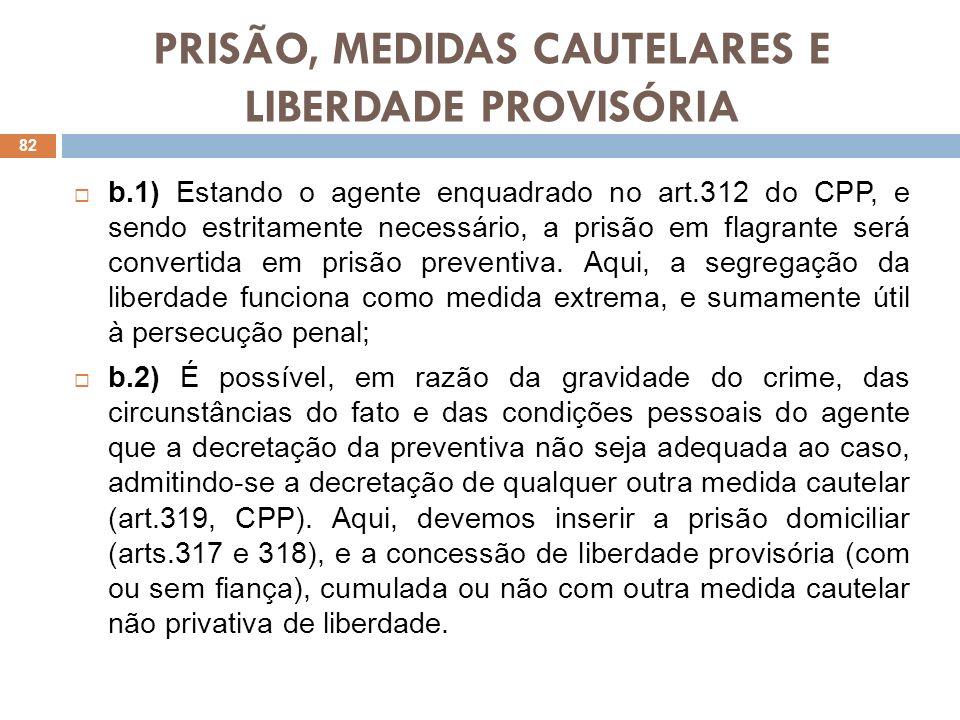 PRISÃO, MEDIDAS CAUTELARES E LIBERDADE PROVISÓRIA b.1) Estando o agente enquadrado no art.312 do CPP, e sendo estritamente necessário, a prisão em fla