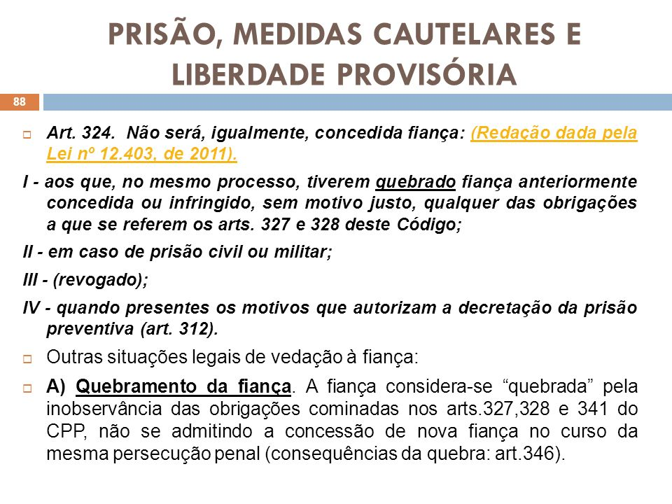 PRISÃO, MEDIDAS CAUTELARES E LIBERDADE PROVISÓRIA Art. 324. Não será, igualmente, concedida fiança: (Redação dada pela Lei nº 12.403, de 2011).(Redaçã