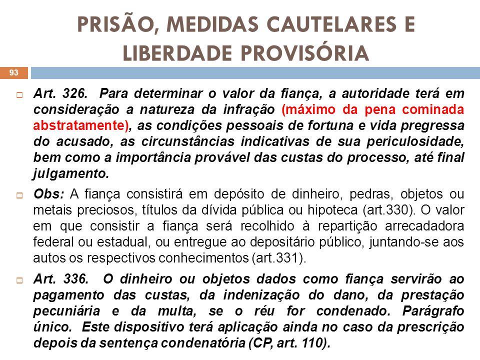 PRISÃO, MEDIDAS CAUTELARES E LIBERDADE PROVISÓRIA Art. 326. Para determinar o valor da fiança, a autoridade terá em consideração a natureza da infraçã