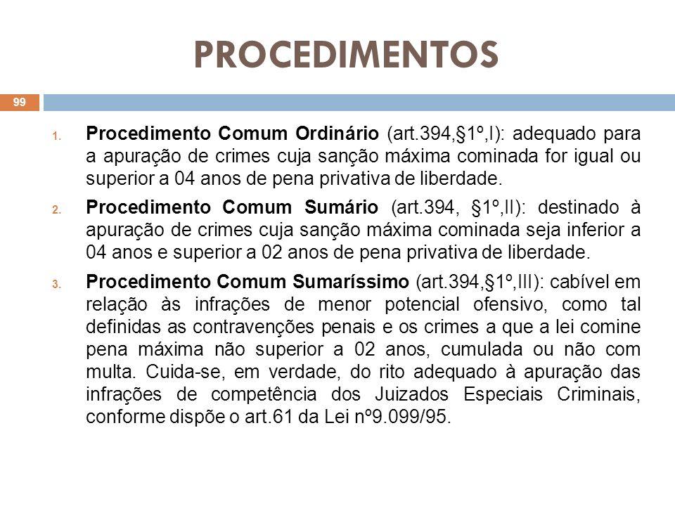 PROCEDIMENTOS 1. Procedimento Comum Ordinário (art.394,§1º,I): adequado para a apuração de crimes cuja sanção máxima cominada for igual ou superior a