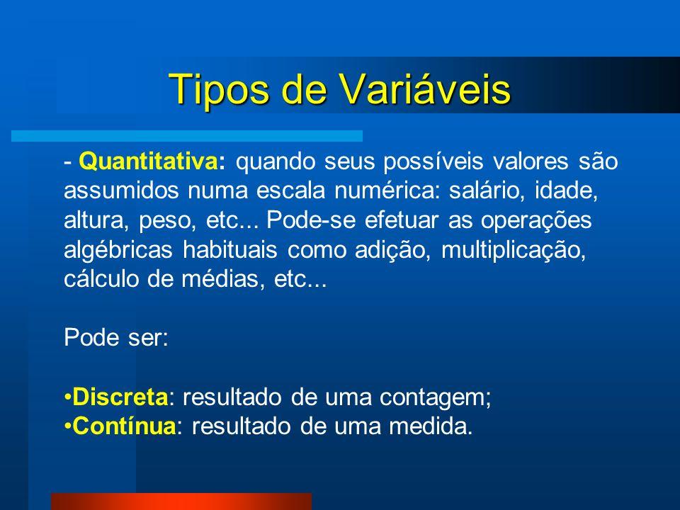 Tipos de Variáveis - Quantitativa: quando seus possíveis valores são assumidos numa escala numérica: salário, idade, altura, peso, etc... Pode-se efet