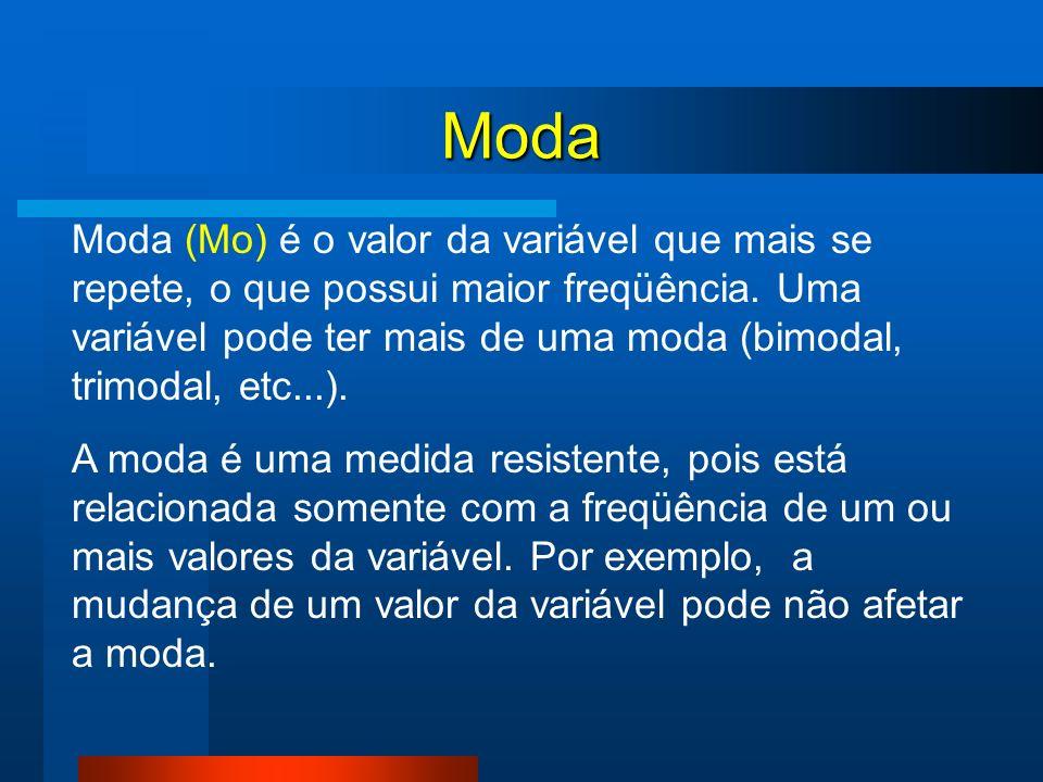 Moda Moda (Mo) é o valor da variável que mais se repete, o que possui maior freqüência. Uma variável pode ter mais de uma moda (bimodal, trimodal, etc