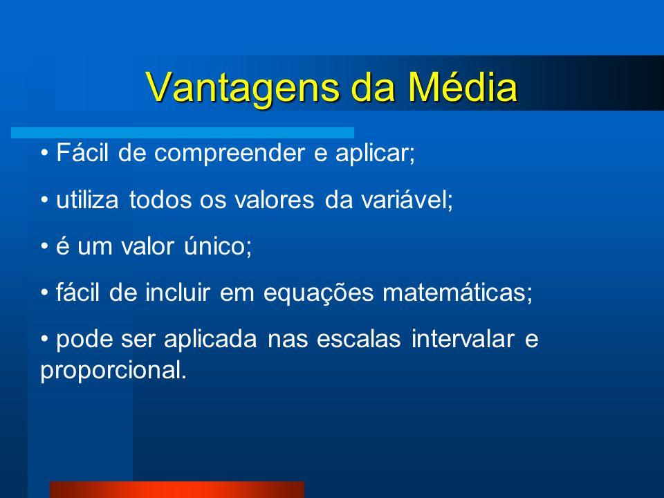 Vantagens da Média Fácil de compreender e aplicar; utiliza todos os valores da variável; é um valor único; fácil de incluir em equações matemáticas; p