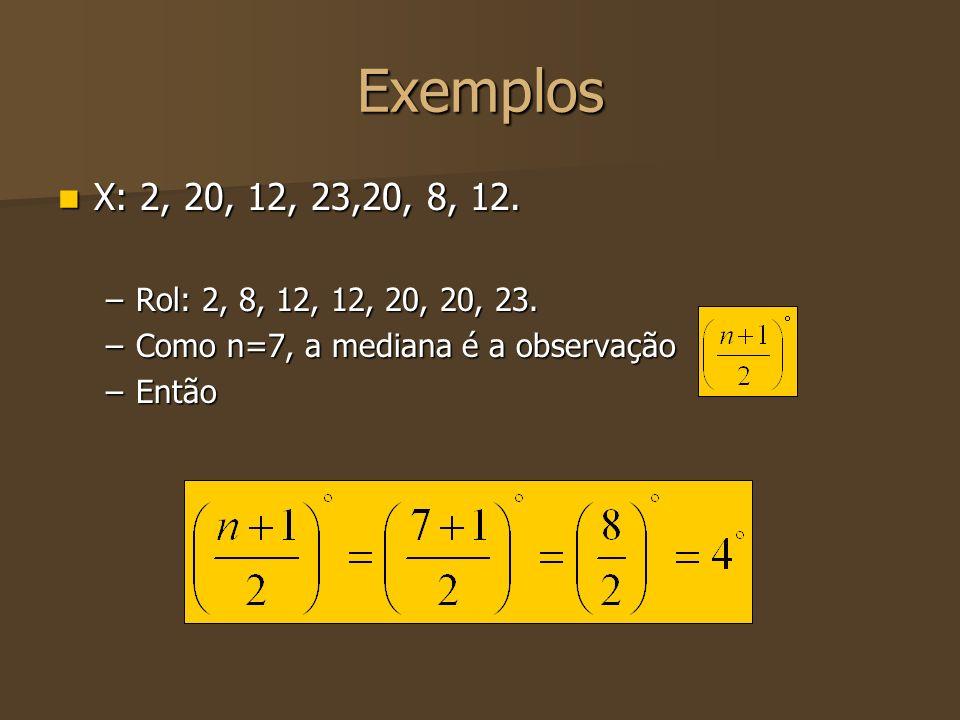 Exemplos X: 2, 20, 12, 23,20, 8, 12. X: 2, 20, 12, 23,20, 8, 12. –Rol: 2, 8, 12, 12, 20, 20, 23. –Como n=7, a mediana é a observação –Então