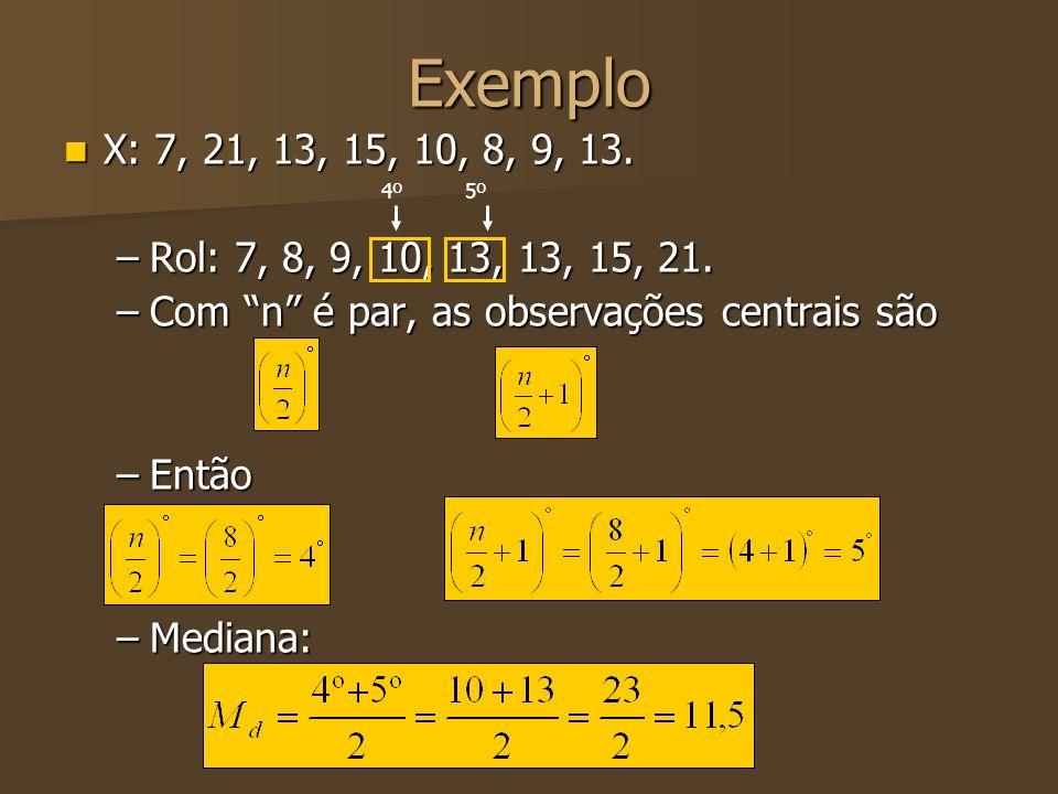 Exemplo X: 7, 21, 13, 15, 10, 8, 9, 13. X: 7, 21, 13, 15, 10, 8, 9, 13. –Rol: 7, 8, 9, 10, 13, 13, 15, 21. –Com n é par, as observações centrais são –