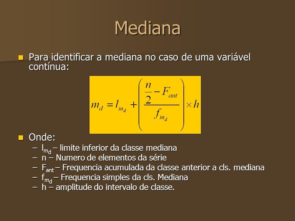 Mediana Exemplo: Exemplo: 3 12 15 4 8 9 12 3 5 6 9 2 2 3 6 1 fifififi Intervalo de classe Classe1 15 18 5 19 18 15 7 2 FiFiFiFi