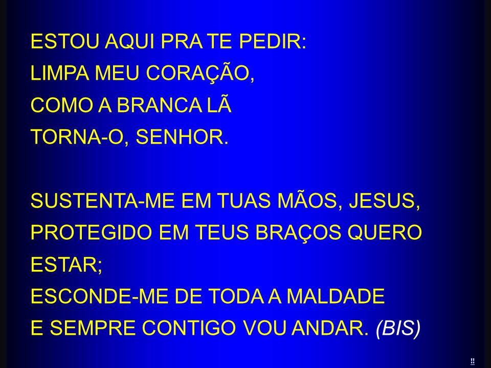 ESTOU AQUI PRA TE PEDIR: LIMPA MEU CORAÇÃO, COMO A BRANCA LÃ TORNA-O, SENHOR. SUSTENTA-ME EM TUAS MÃOS, JESUS, PROTEGIDO EM TEUS BRAÇOS QUERO ESTAR; E