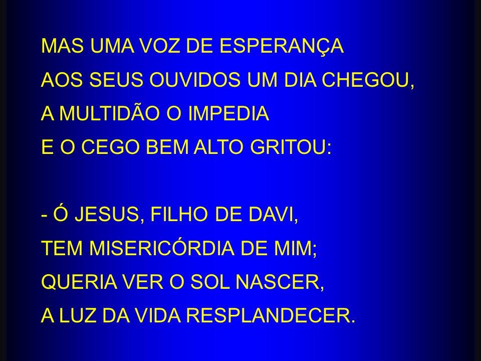MAS UMA VOZ DE ESPERANÇA AOS SEUS OUVIDOS UM DIA CHEGOU, A MULTIDÃO O IMPEDIA E O CEGO BEM ALTO GRITOU: - Ó JESUS, FILHO DE DAVI, TEM MISERICÓRDIA DE