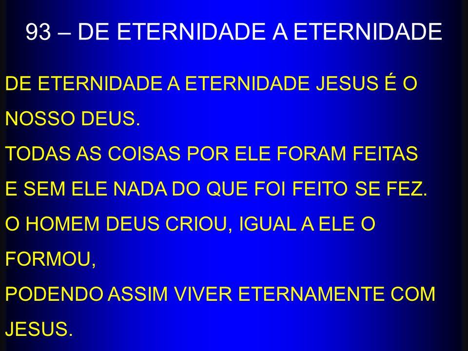 DE ETERNIDADE A ETERNIDADE JESUS É O NOSSO DEUS. TODAS AS COISAS POR ELE FORAM FEITAS E SEM ELE NADA DO QUE FOI FEITO SE FEZ. O HOMEM DEUS CRIOU, IGUA