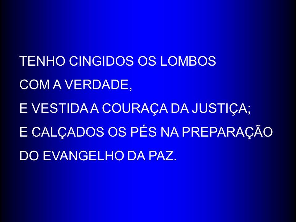 TENHO CINGIDOS OS LOMBOS COM A VERDADE, E VESTIDA A COURAÇA DA JUSTIÇA; E CALÇADOS OS PÉS NA PREPARAÇÃO DO EVANGELHO DA PAZ.