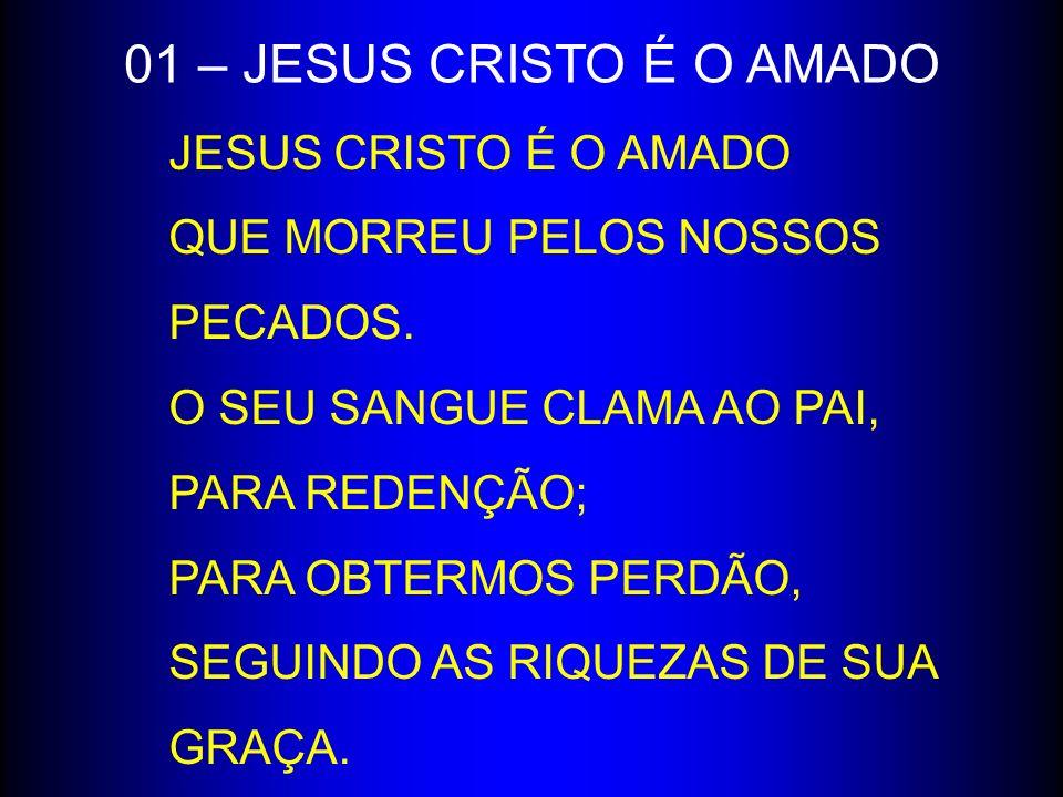 JESUS CRISTO É O AMADO QUE MORREU PELOS NOSSOS PECADOS. O SEU SANGUE CLAMA AO PAI, PARA REDENÇÃO; PARA OBTERMOS PERDÃO, SEGUINDO AS RIQUEZAS DE SUA GR