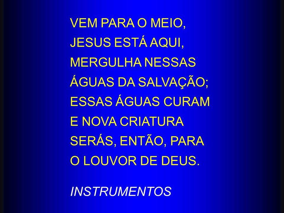 VEM PARA O MEIO, JESUS ESTÁ AQUI, MERGULHA NESSAS ÁGUAS DA SALVAÇÃO; ESSAS ÁGUAS CURAM E NOVA CRIATURA SERÁS, ENTÃO, PARA O LOUVOR DE DEUS. INSTRUMENT