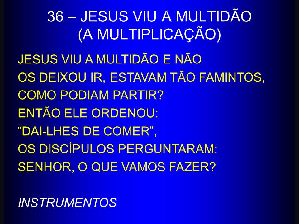 36 – JESUS VIU A MULTIDÃO (A MULTIPLICAÇÃO) JESUS VIU A MULTIDÃO E NÃO OS DEIXOU IR, ESTAVAM TÃO FAMINTOS, COMO PODIAM PARTIR? ENTÃO ELE ORDENOU: DAI-
