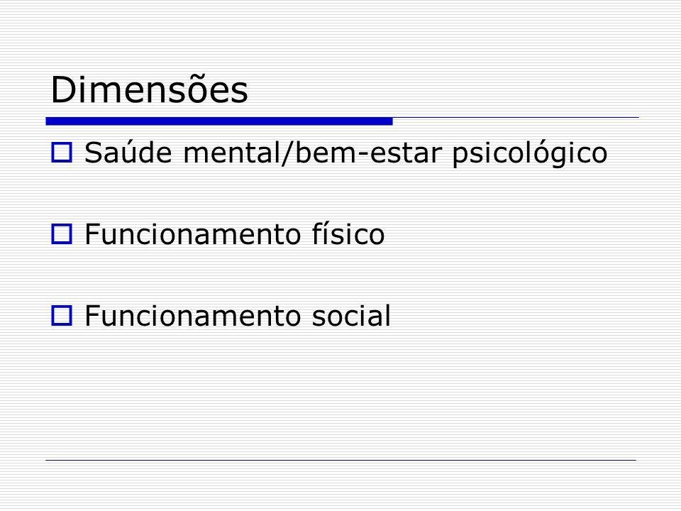 Dimensões Saúde mental/bem-estar psicológico Funcionamento físico Funcionamento social