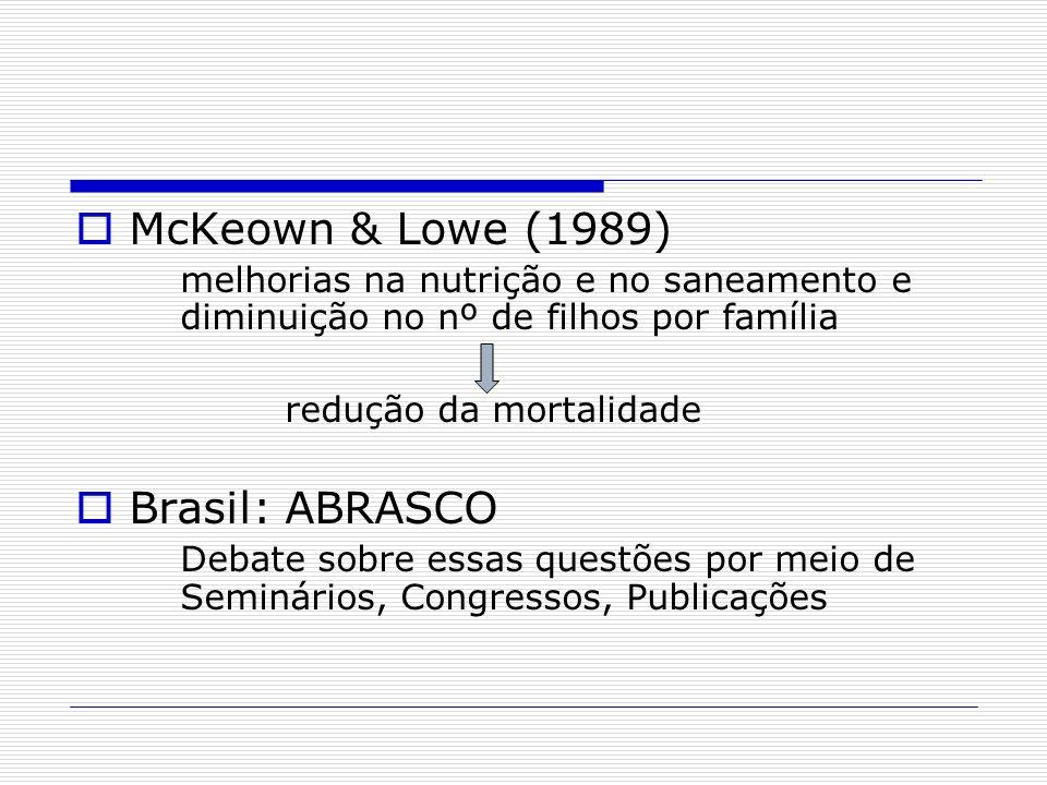 McKeown & Lowe (1989) melhorias na nutrição e no saneamento e diminuição no nº de filhos por família redução da mortalidade Brasil: ABRASCO Debate sob