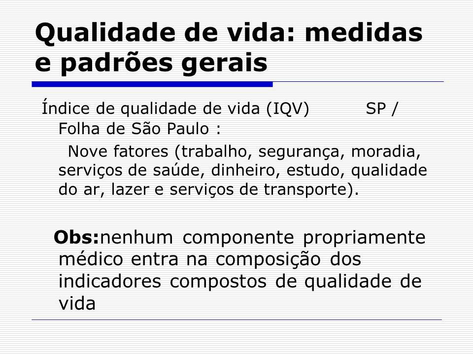 Qualidade de vida: medidas e padrões gerais Índice de qualidade de vida (IQV) SP / Folha de São Paulo : Nove fatores (trabalho, segurança, moradia, se