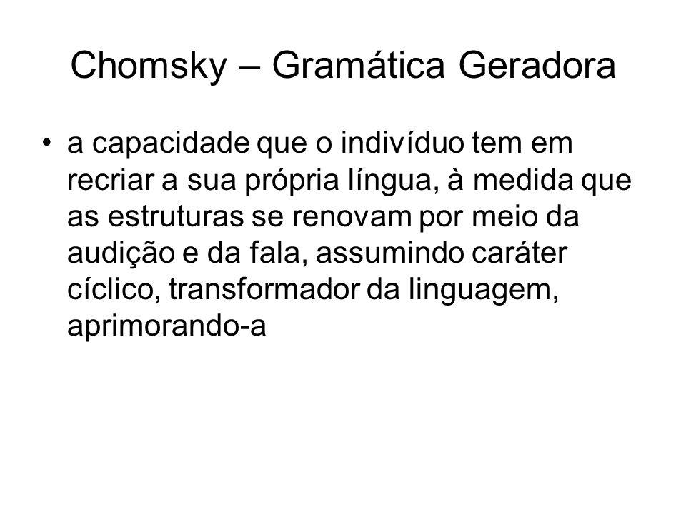 Chomsky – Gramática Geradora a capacidade que o indivíduo tem em recriar a sua própria língua, à medida que as estruturas se renovam por meio da audiç