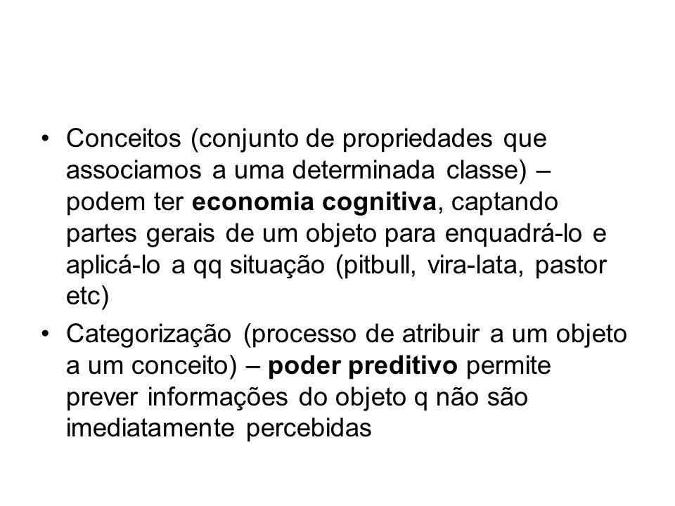 Conceitos (conjunto de propriedades que associamos a uma determinada classe) – podem ter economia cognitiva, captando partes gerais de um objeto para