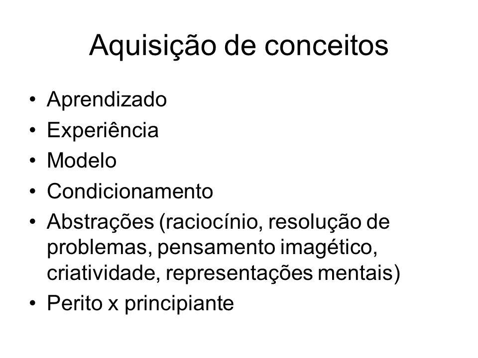 Aquisição de conceitos Aprendizado Experiência Modelo Condicionamento Abstrações (raciocínio, resolução de problemas, pensamento imagético, criativida