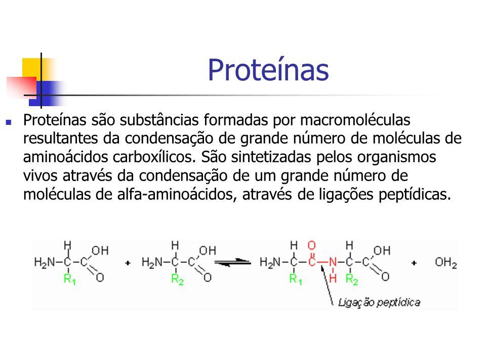 Proteínas Proteínas são substâncias formadas por macromoléculas resultantes da condensação de grande número de moléculas de aminoácidos carboxílicos.