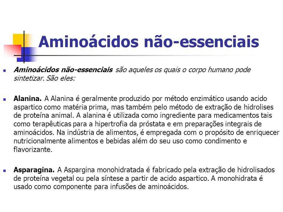 Aminoácidos não-essenciais Aminoácidos não-essenciais são aqueles os quais o corpo humano pode sintetizar. São eles: Alanina. A Alanina é geralmente p