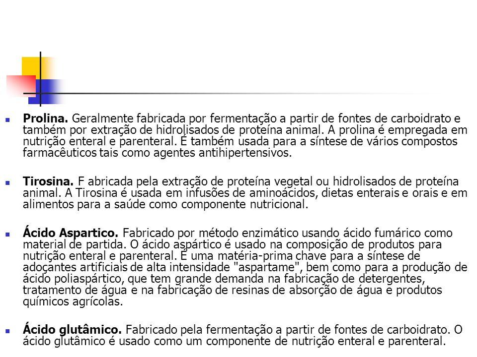 Prolina. Geralmente fabricada por fermentação a partir de fontes de carboidrato e também por extração de hidrolisados de proteína animal. A prolina é