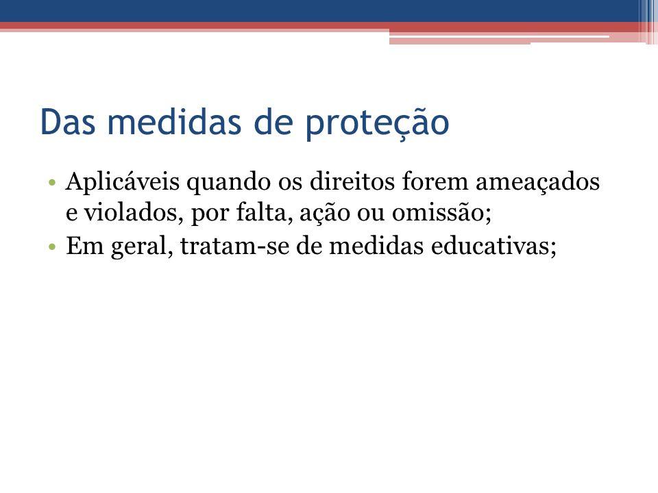 Das medidas de proteção Aplicáveis quando os direitos forem ameaçados e violados, por falta, ação ou omissão; Em geral, tratam-se de medidas educativa