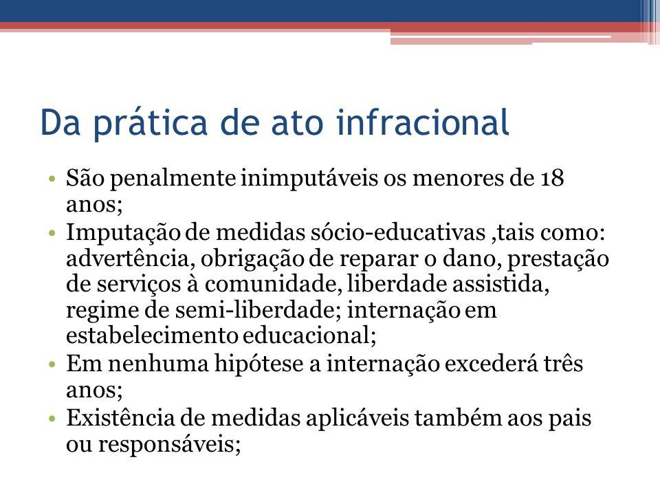 Da prática de ato infracional São penalmente inimputáveis os menores de 18 anos; Imputação de medidas sócio-educativas,tais como: advertência, obrigaç