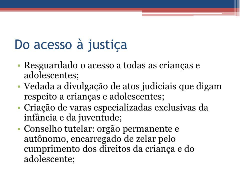 Do acesso à justiça Resguardado o acesso a todas as crianças e adolescentes; Vedada a divulgação de atos judiciais que digam respeito a crianças e ado
