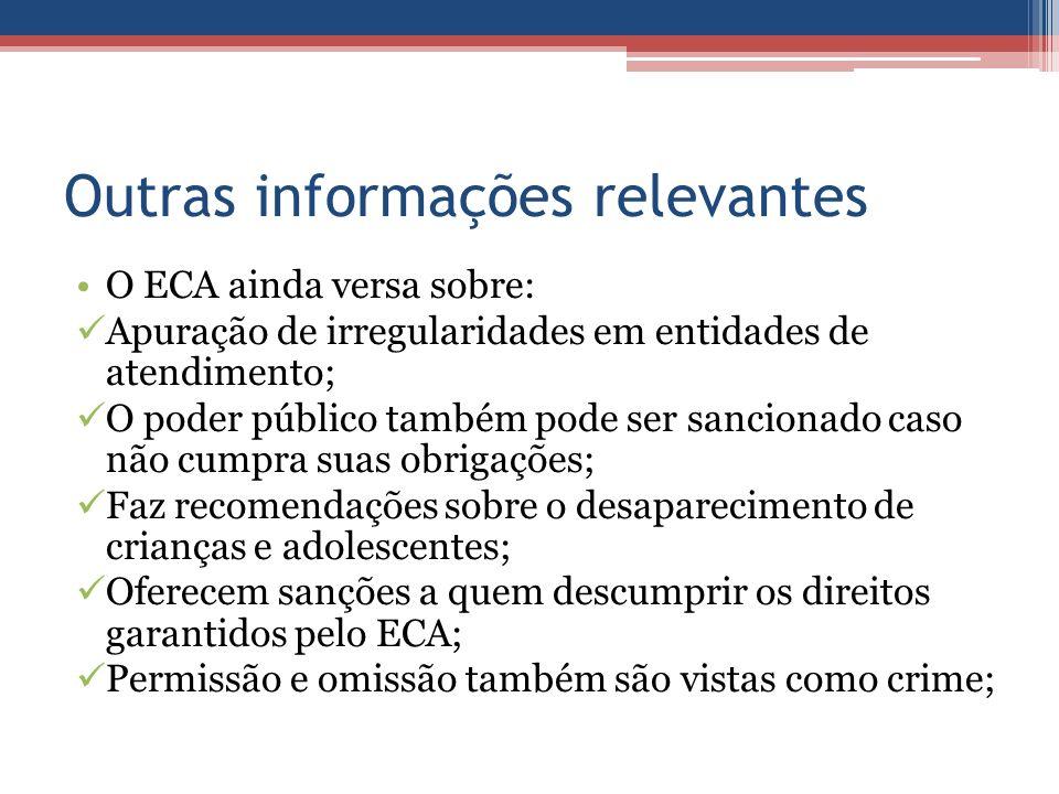 Outras informações relevantes O ECA ainda versa sobre: Apuração de irregularidades em entidades de atendimento; O poder público também pode ser sancio