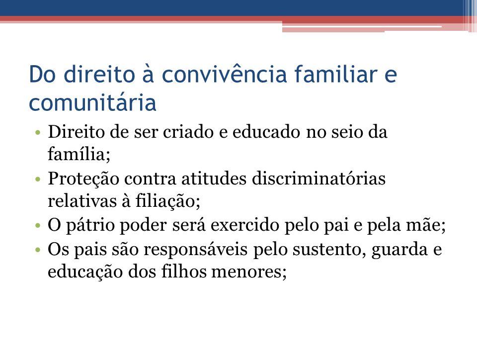 Do direito à convivência familiar e comunitária Direito de ser criado e educado no seio da família; Proteção contra atitudes discriminatórias relativa