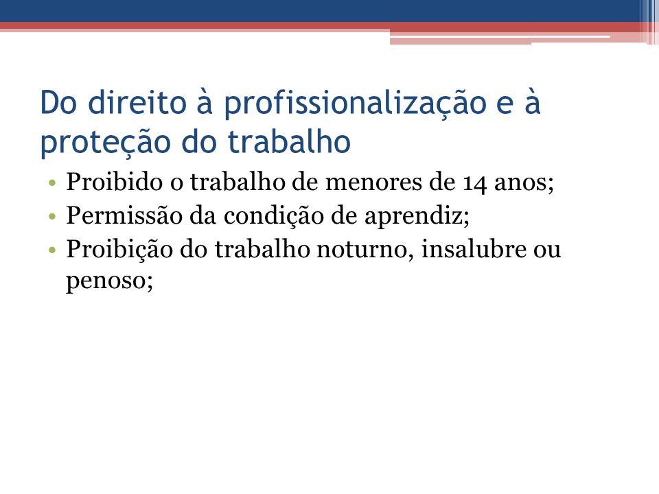 Do direito à profissionalização e à proteção do trabalho Proibido o trabalho de menores de 14 anos; Permissão da condição de aprendiz; Proibição do tr
